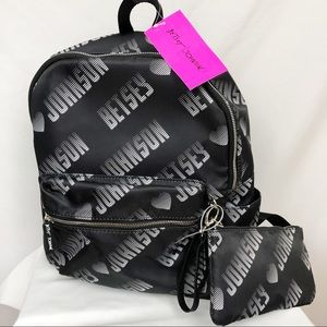 NWT Betsey Johnson Big Logo Backpack & Wristlet